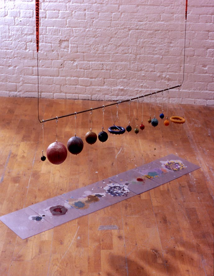 Falling Boundary 2004 Survey tape, brass, wire, hooks, string, paint Dimensions variable