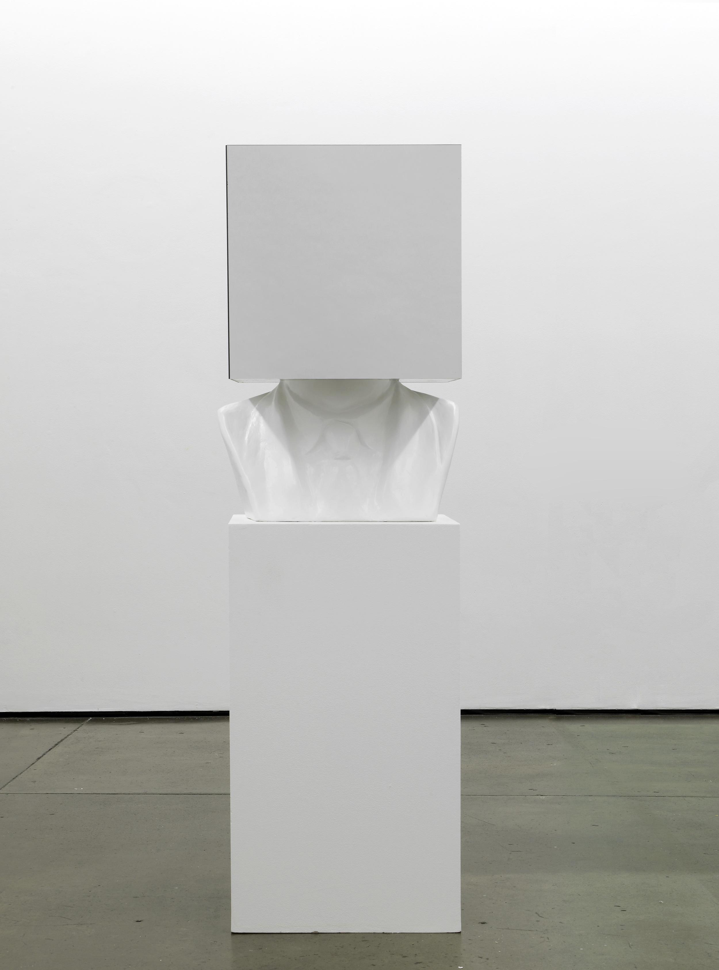 Sol LeWitt, Paragraphs on Conceptual Art, 1967  2012  Plaster bust, mirror, plinth 173 x 57 x 50 cm / 68 x 22.5 x 20 in