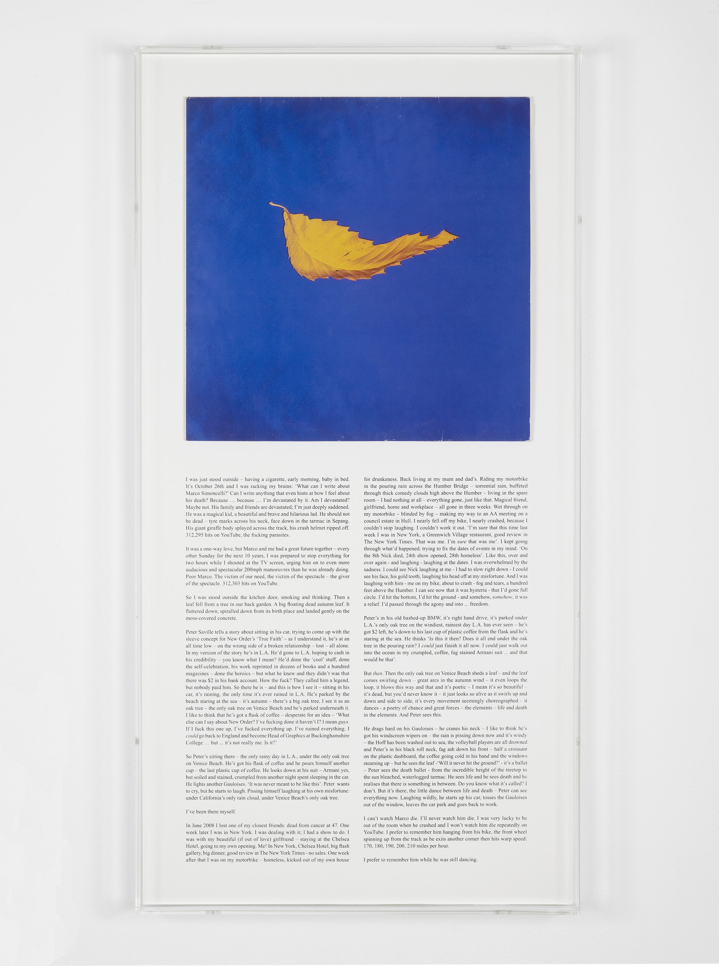 A History of Music (True Faith) 2012 Album cover, screenprint, perspex frame 79 x 40 cm / 31 x 15.7 in