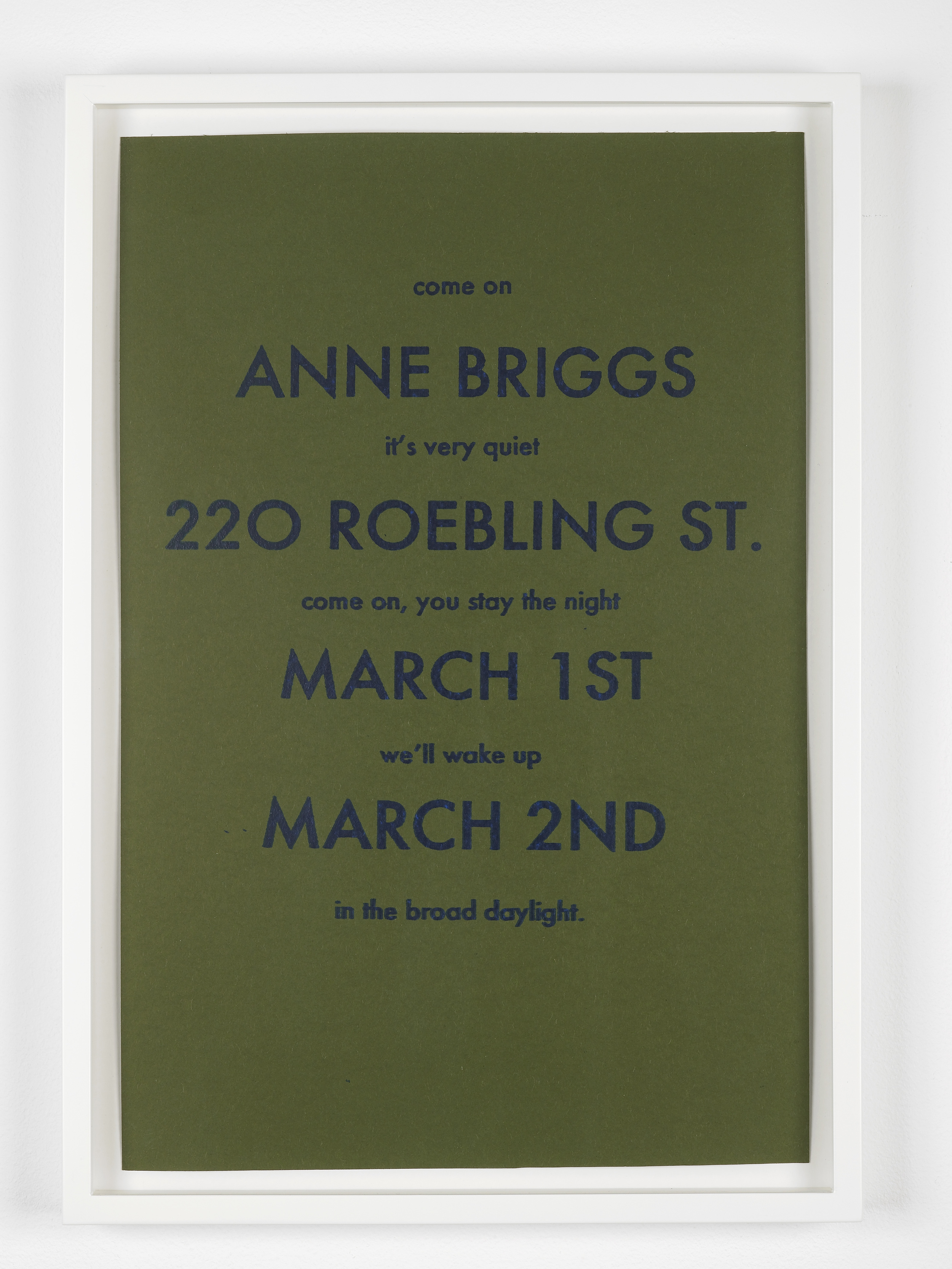Marc Hundley Anne Briggs 220 Roebling St. March 1st & March 2nd 2012 Ink on paper 45.7 x 30.5 cm / 18 x 12 in