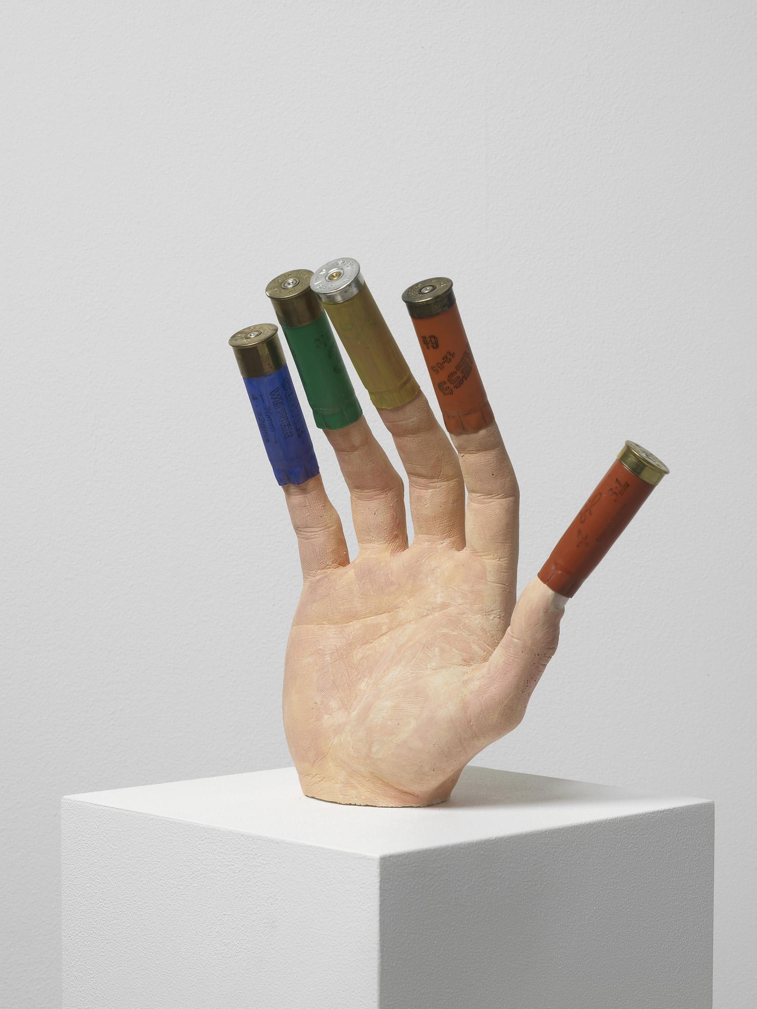 Fortune Teller 2011 Plaster, shotgun shells, paint Sculpture: 23 x 28 x 10 cm / 9 x 11 x 3.9 in,Plinth:120 x 20 x 37 / 47.2 x 7.8 x 14.5 in