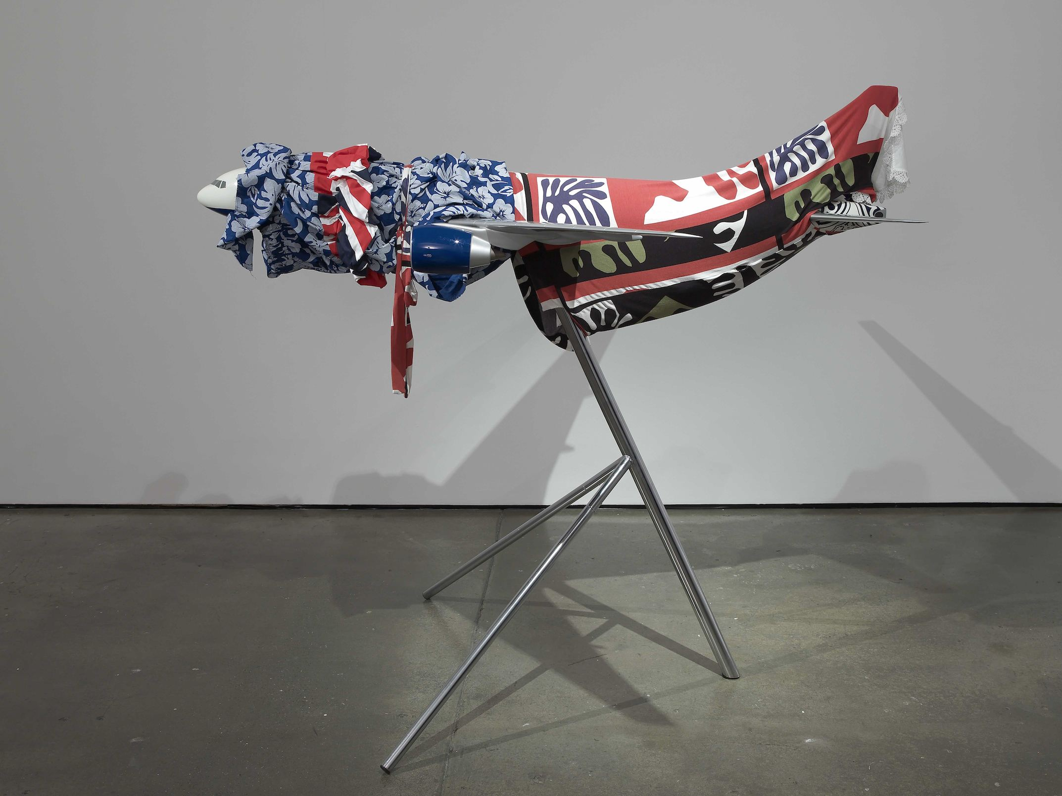 Baby Elephant  2010 Fabric, scale model airplane, stand 156 x 183 x 157 cm / 61.5 x 72 x 67 in