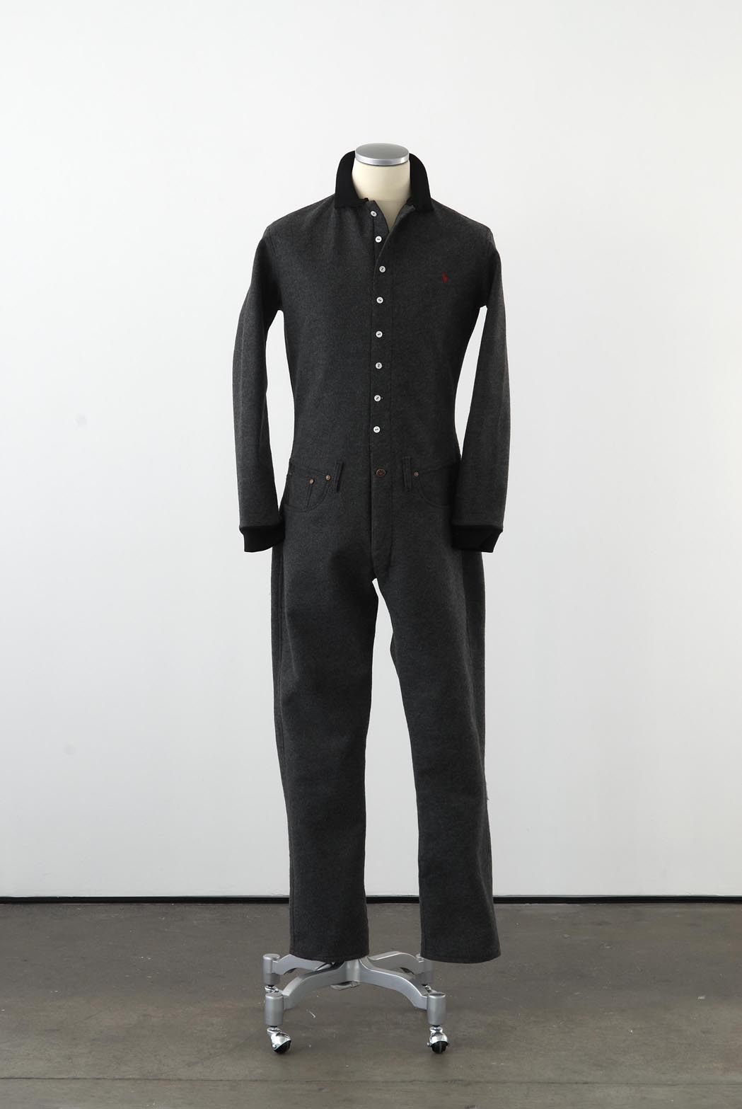 Matthew Darbyshire Standardised Production Clothing, Version 1 2009 Grey felt, cotton jersey & fittings on mannequin 185 x 45 x 34 cm