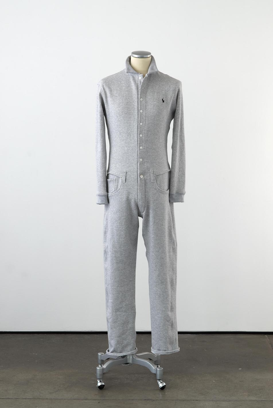 Matthew Darbyshire Standardised Production Clothing, Version 10 2009 Grey marle cotton, cotton jersey & fittings on mannequin 185 x 45 x 34 cm