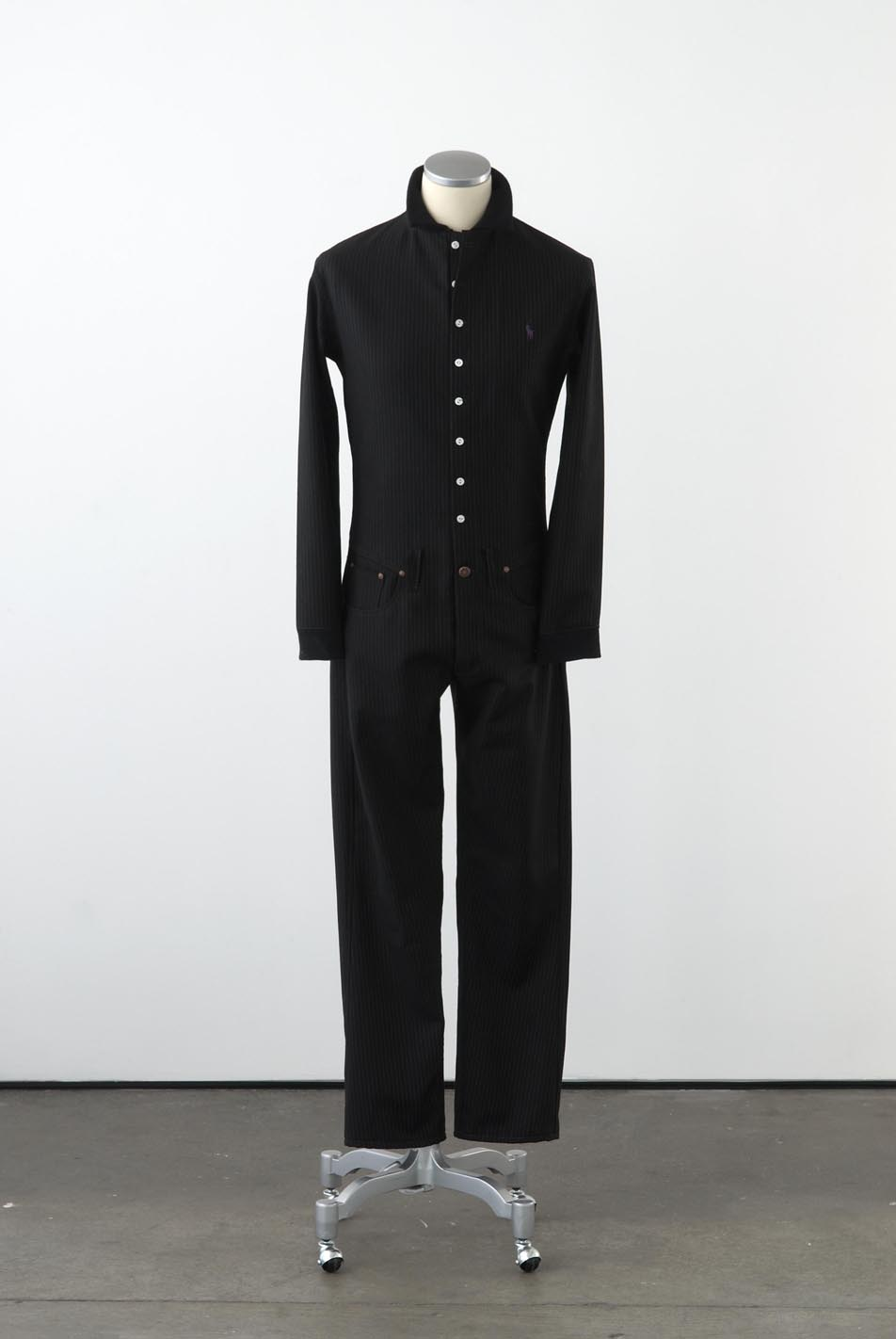 Matthew Darbyshire Standardised Production Clothing, Version 9 2009 Woollen pinstripe, cotton jersey & fittings on mannequin 185 x 45 x 34 cm
