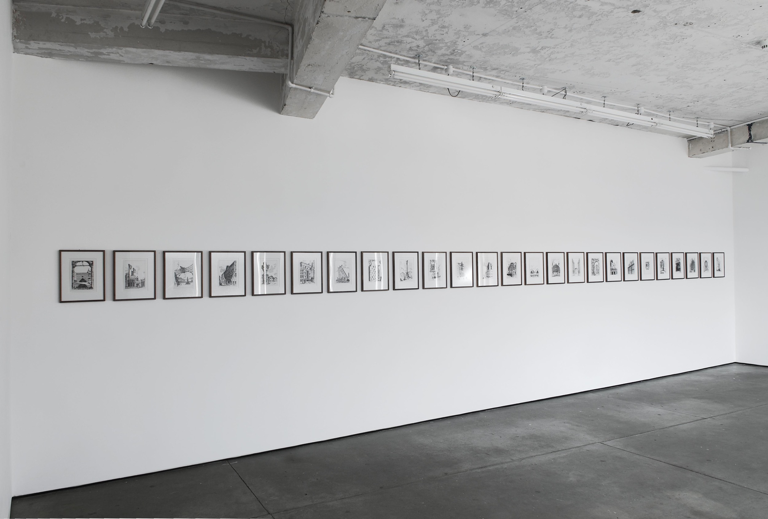 Pablo Bronstein Postmodern Architecture in London 2007 ink on paper, framed 25 parts, each part 37.5 x 30.5 cm framed