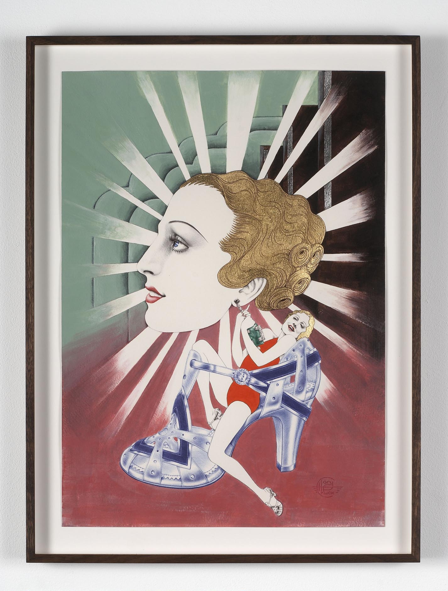 Desire - American (1930s) 2009 acrylic, ink, 23 3/4 Carat Gold leaf and silver leaf on paper 42 x 29.7 cm
