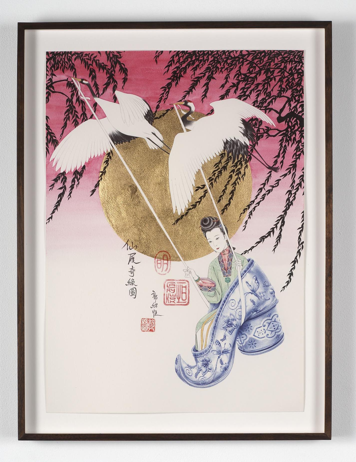 Desire - Chinese (Late Ming Dynasty) 2009 acrylic, ink, permanent marker and 23 3/4 Carat Gold leaf on paper 42 x 29.7 cm