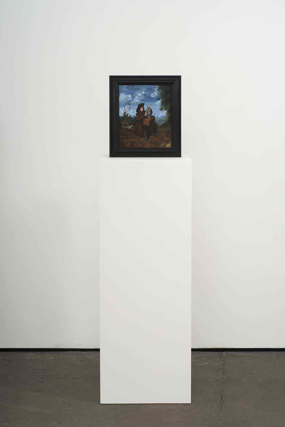 Fluffy and a Friend 2009 Double-sided acrylic on board in artists frame mounted on pedestal 147.3 x 40 x 28cm
