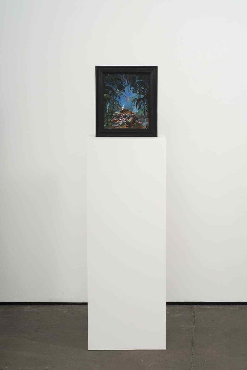 Slaughter   2009   Double-sided acrylic on board in artists frame mounted on pedestal   147.3 x 40 x 28cm
