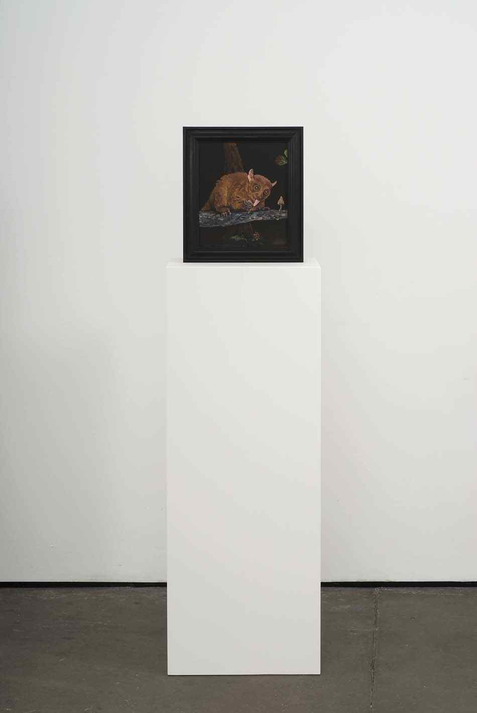 Curiosity Killed the Prosimian 2009 Double-sided acrylic on board in artists frame mounted on pedestal 147.3 x 40 x 28cm