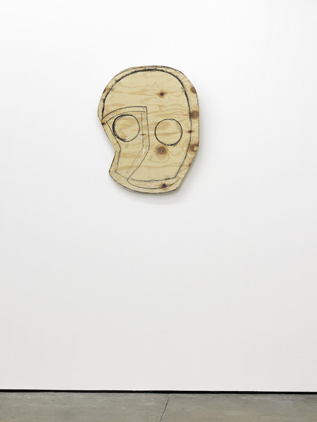 Wood Mask (Owl) 2008 wood, graphite, oil stick 86.4 x 71.1 x 2.5 cm