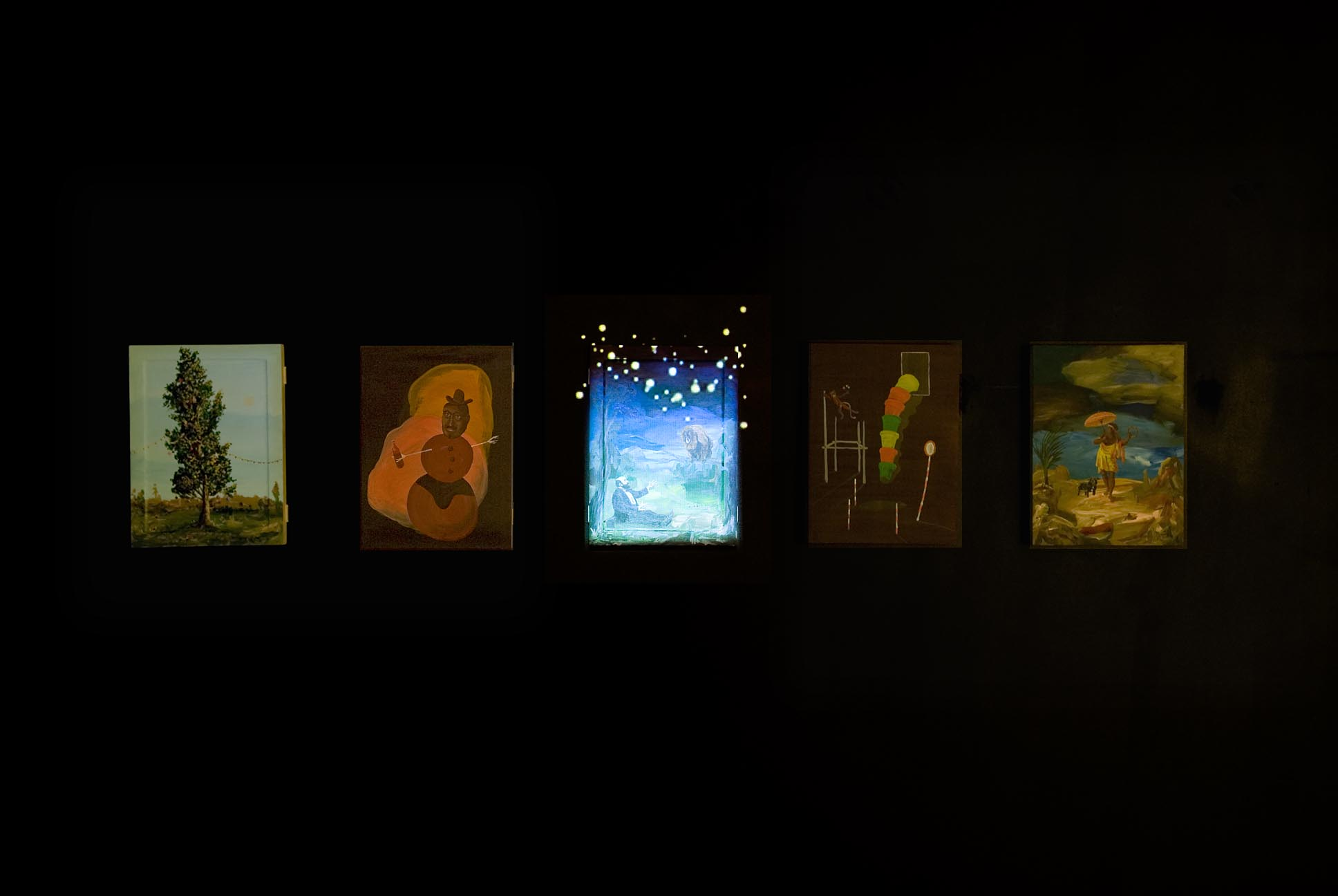 Untitled (Djordje Ozbolt) 2008 Flash Animaton Video Projection and 5 Paintings (Acrylic on Board)  Dimensions Variable