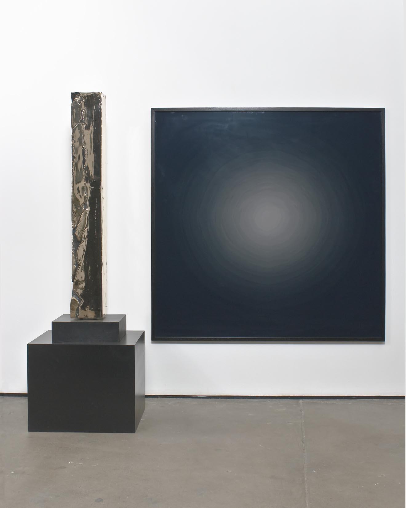 Anthony Pearson Untitled (Drop Cast Slab Arrangement) 2008 Uncoated hi-polished bronze sculpture, base, pedestal, framed c-print mounted to acrylic in artist's frame: 144.8 x 162.6 x 50.8 cm