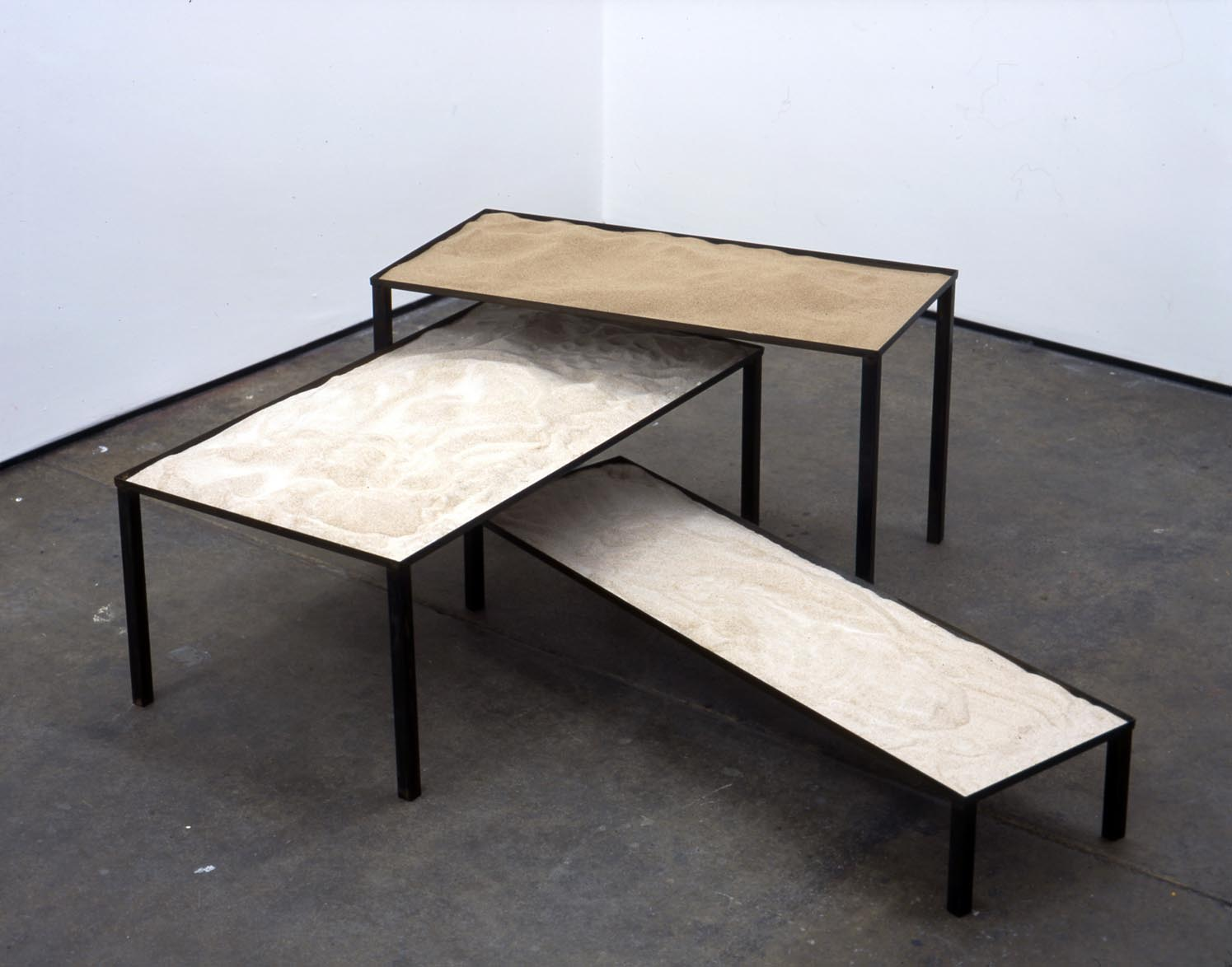 Nest of Tables 2006 steel & sand 38.5x120x120cm