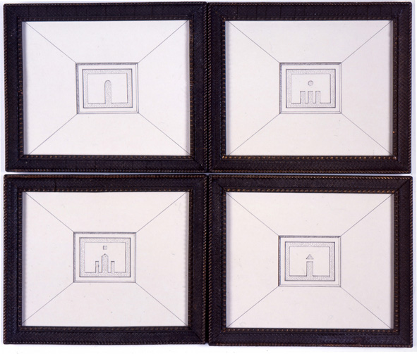 4 Facades 2006 ink on paper in artist's frames 4 parts each: 22x26.3cm