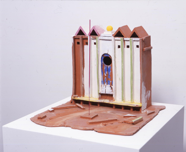 Beijing Plaza 2005 painted clay & incense 32x39x39cm