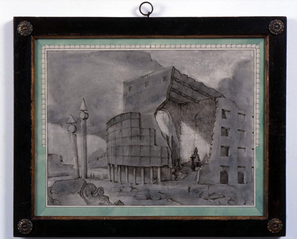 Fountain of Regeneration on the Debris of the Opera of the Bastille 2006 ink & gouache on paper in artist's frame 43.5x54cm