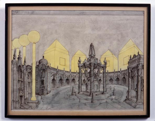 Idealised Perspective in the Style of Juvarra & Michael Graves 2005 ink & gouache on paper in artist's frame 39.5x50cm