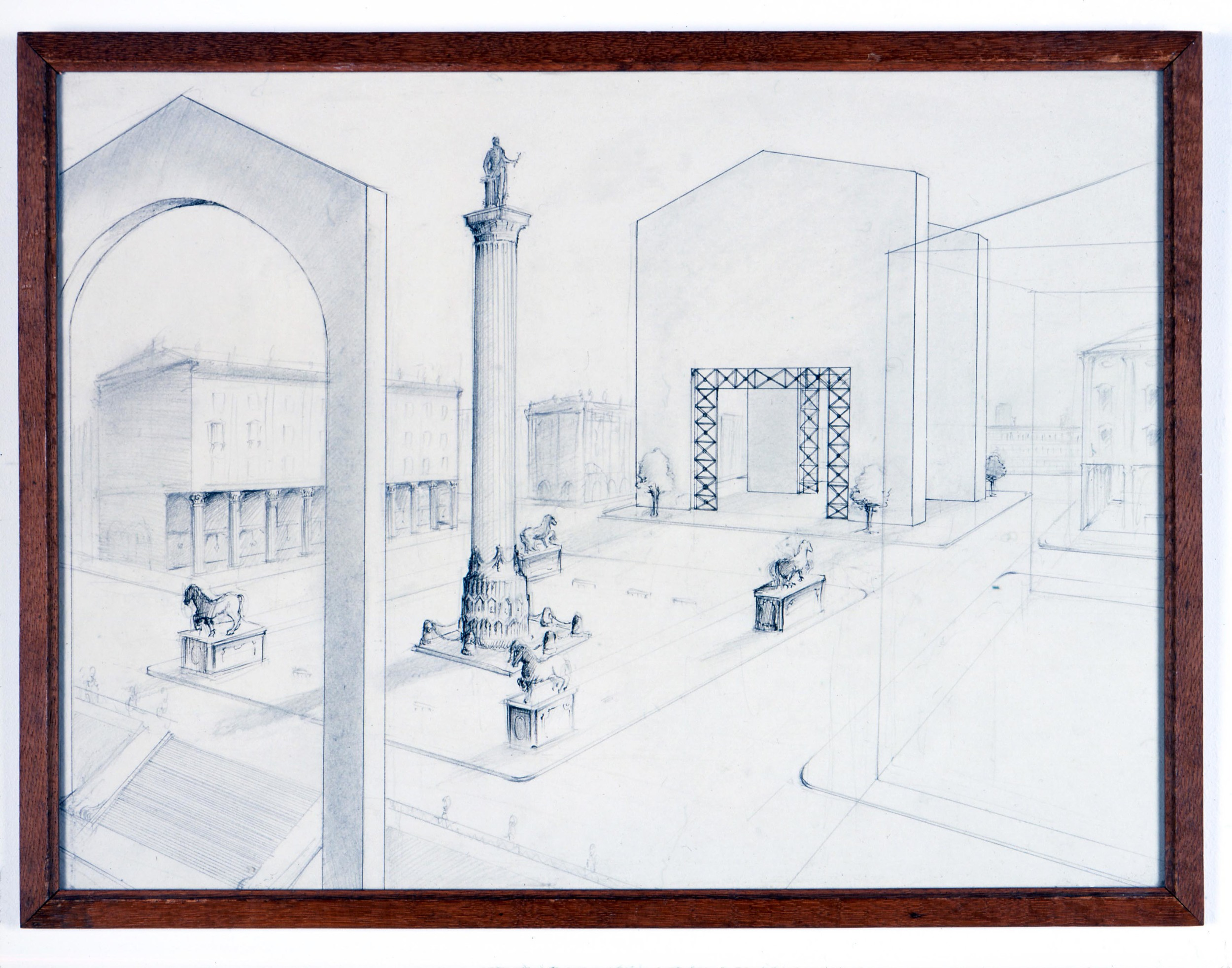Idealised Piazza Circa 1980 2006 ink & pencil on paper with artists frame 41.5cm x 54cm
