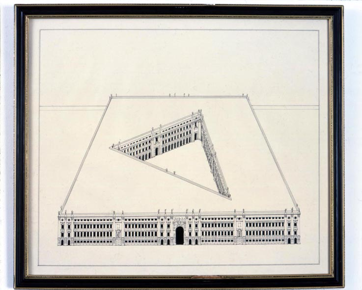 Large Building with Courtyard 2005 ink on paper in artist's frame 44.5x50.5cm