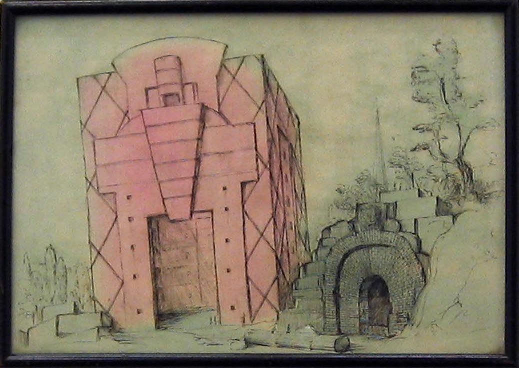 Monument in the Style of Michael Graves on the Debris of the Bastille 2006 ink & gouache on paper in artist's frame 22cmx31cm