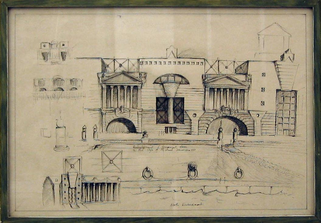 Sketch for the Redevelopement of Somerset House in the Style of Michael Graves 2006 ink on paper in artist's frame 34x49cm
