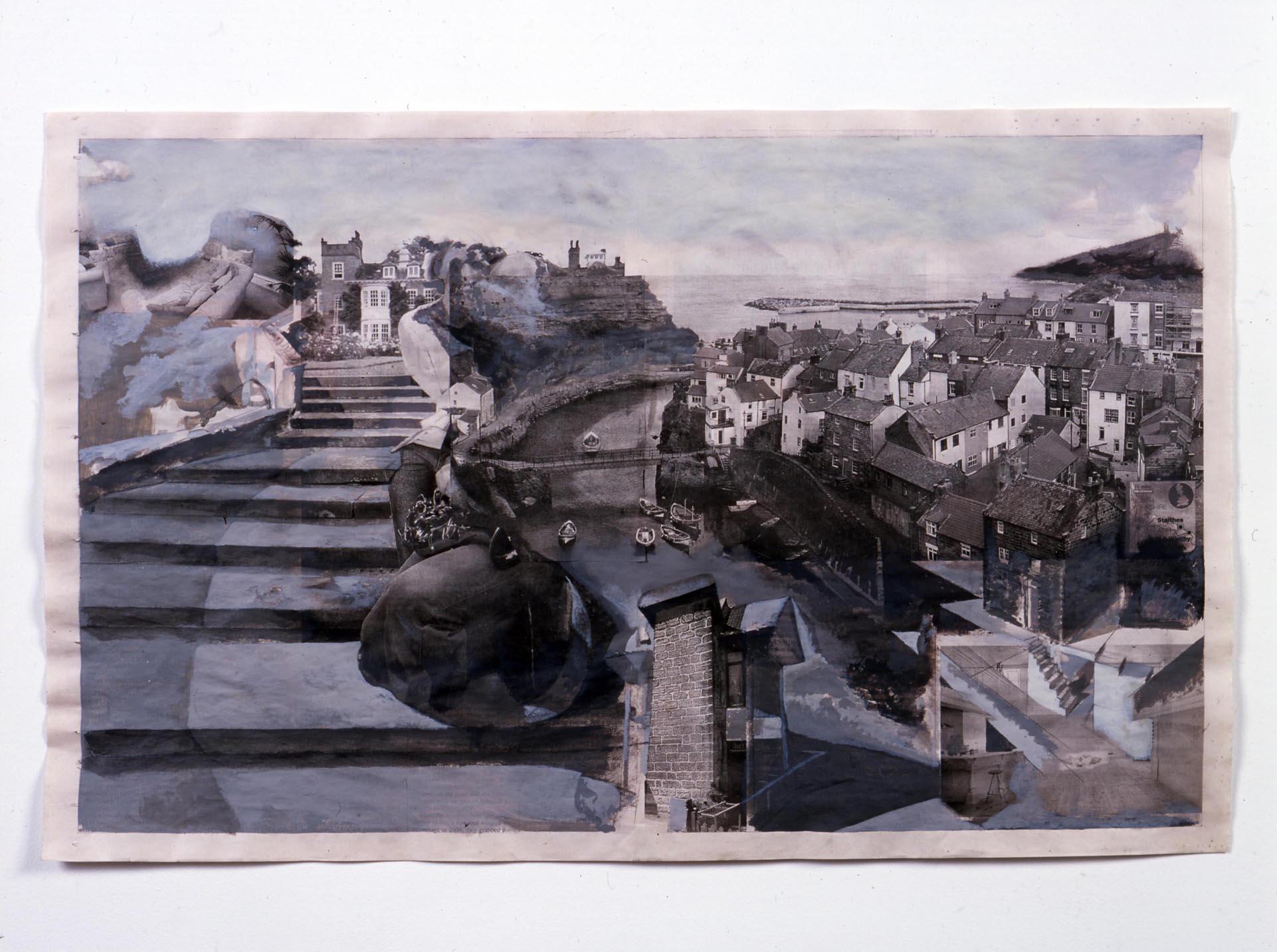 Continued Unnoticed 2005 Acrylic on newsprint 36.5 x 58cm