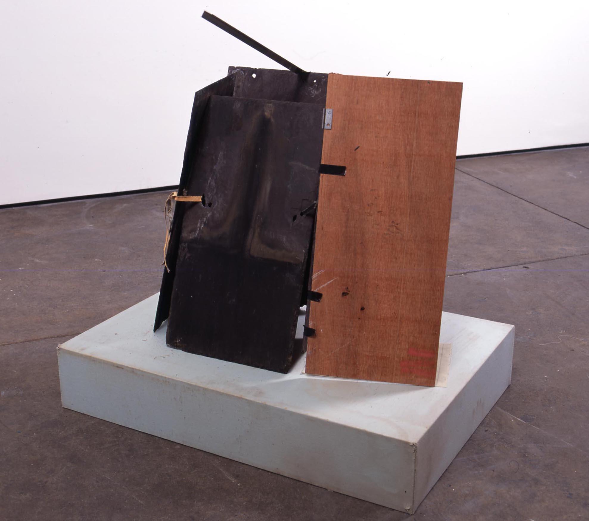 Only Attic, no Cellar  2005  Slate, paint, linen, aluminium, photocopy, wood, hinges, pedestal   Dimensions Variable