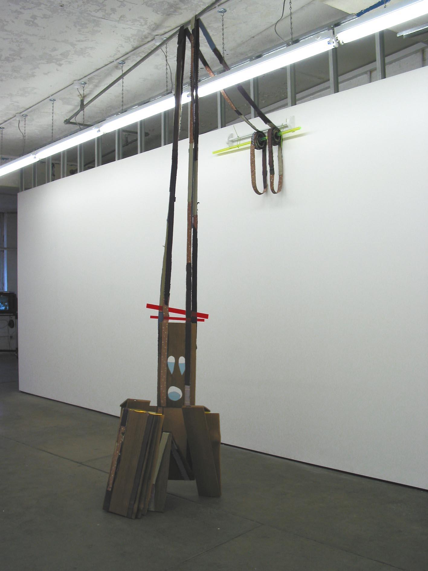 Shakeman 2005 Cedar wood, fabric, perspex, fittings Dimensions variable