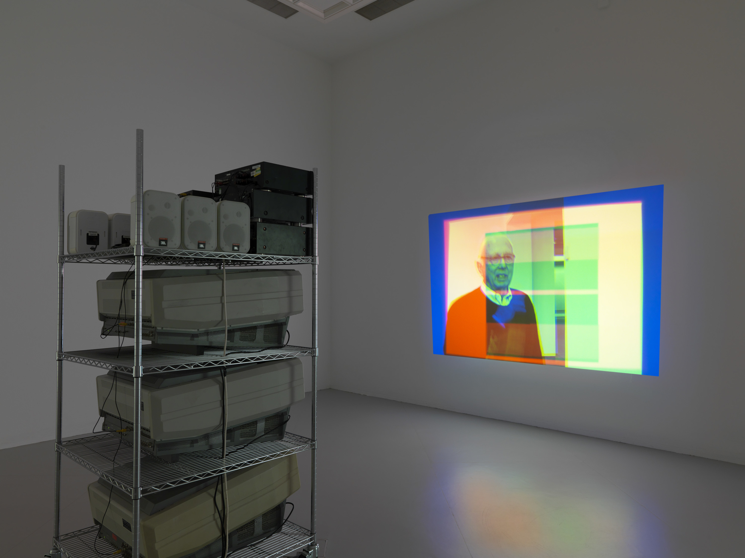 Thre Stryppis Quhite Upon ane Blak Field 2010 Triple CRT projection, 3 projectors, 3 DVD players, 3 DVDs, speakers 44:01 minutes