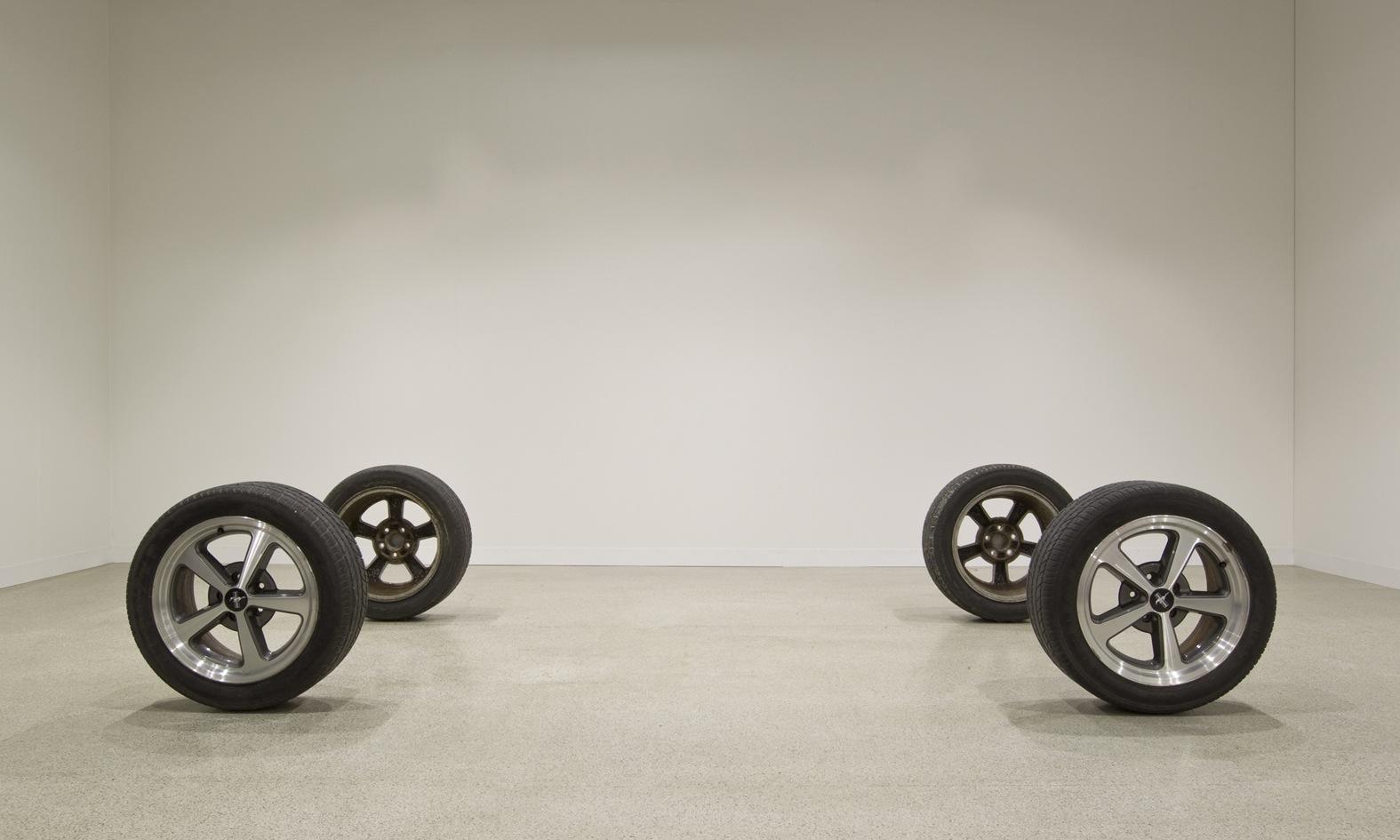 Raining Room 2012 Car wheels 63.5 x 176 x 320 cm / 25 x 69.3 x 126.3 in