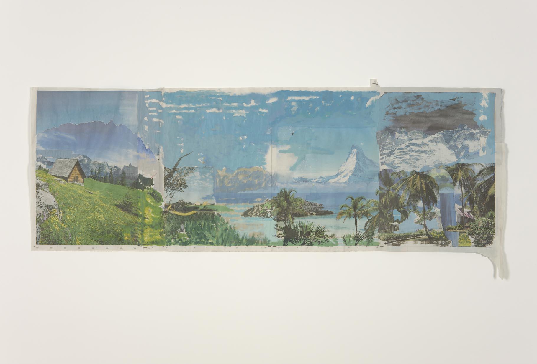 Five die cutting star   2012   Acrylic on newsprint   54.5 x 131 cm / 21.4 x 51.5 in