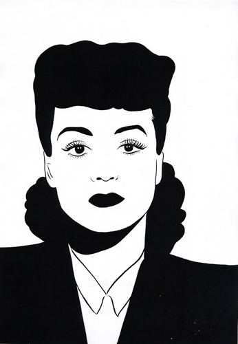 Joan Crawford as Mildred Pierce   2010   Ink on paper   29.7 x 42 cm / 11.6 x 16.5 in