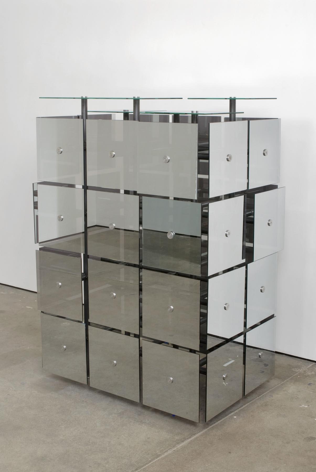 The Breeder 2007 Steel, Mirrored Spy Glass, Butterfly Pupa, Butterflies 112 x 160 x 76 cm / 44 x 63 x 30