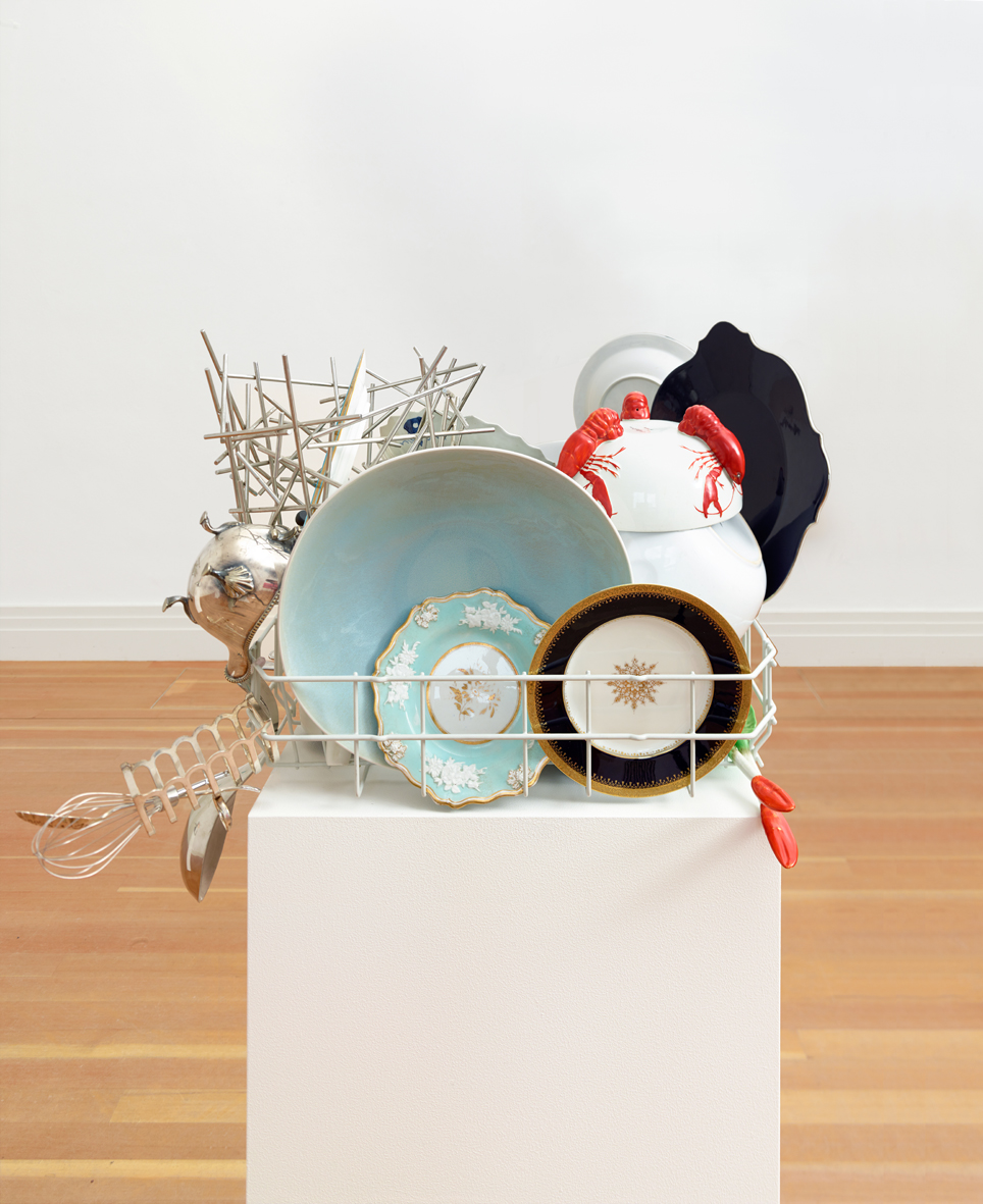 Abwaschskulptur #2  2013  Kitchenware, plinth  Approx. 162 x 70 x 55 cm / 63.7 x 27.5 x 21.6 in