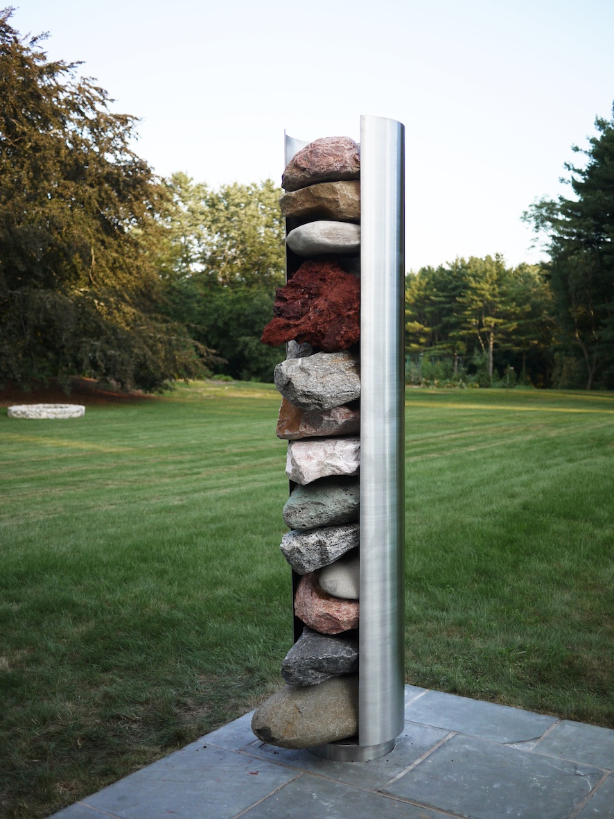 Rockdispenser 2010 Stainless steel, rocks, fittings 240 x 45 x 45 cm / 95 x 17.7 x 17.7 in
