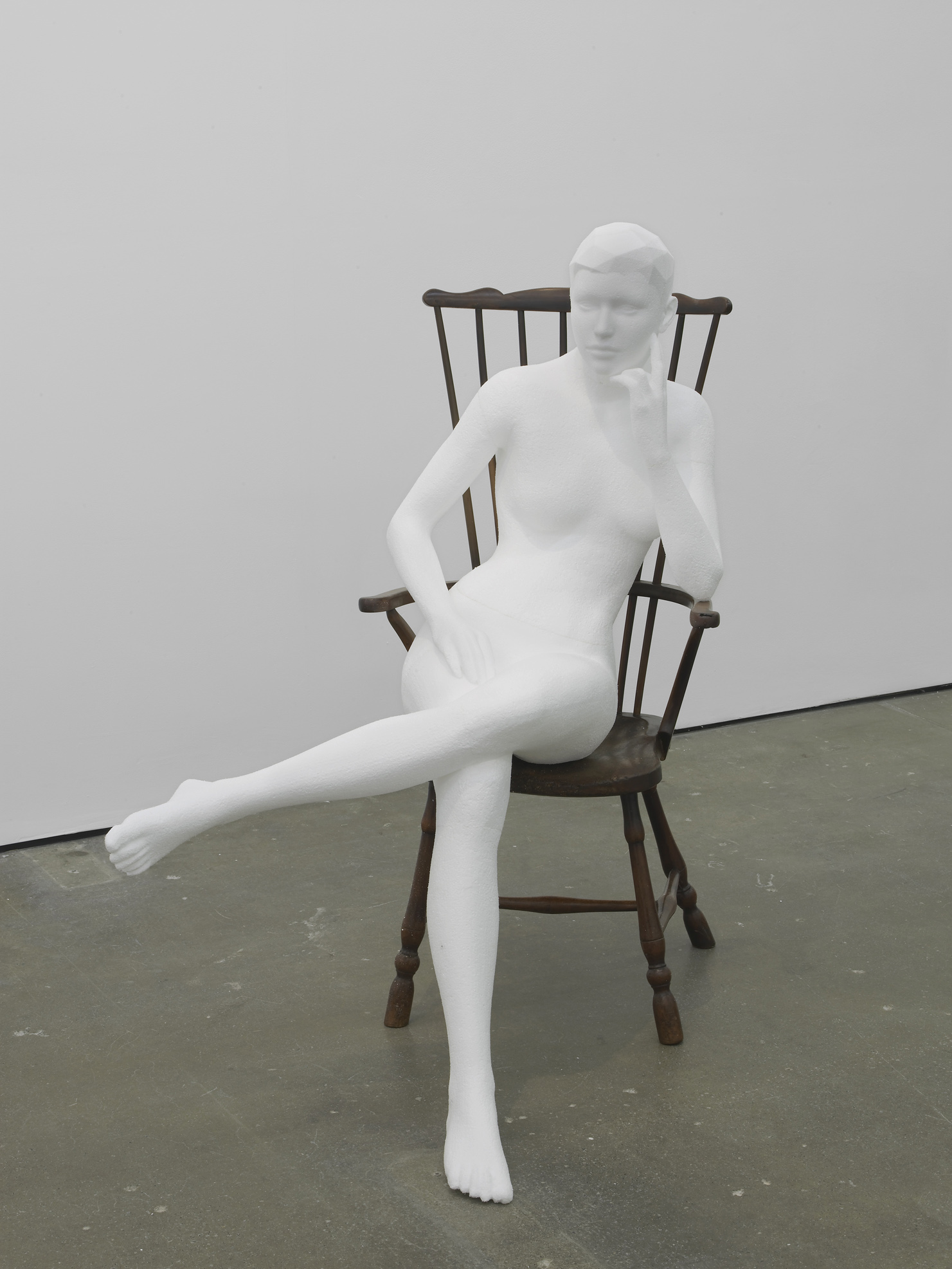 Seated Nude  2014  Polystyrene and 20th century Windsor chair  125 x 95 x 100 cm / 49.2 x 37.4 x 39.3 in