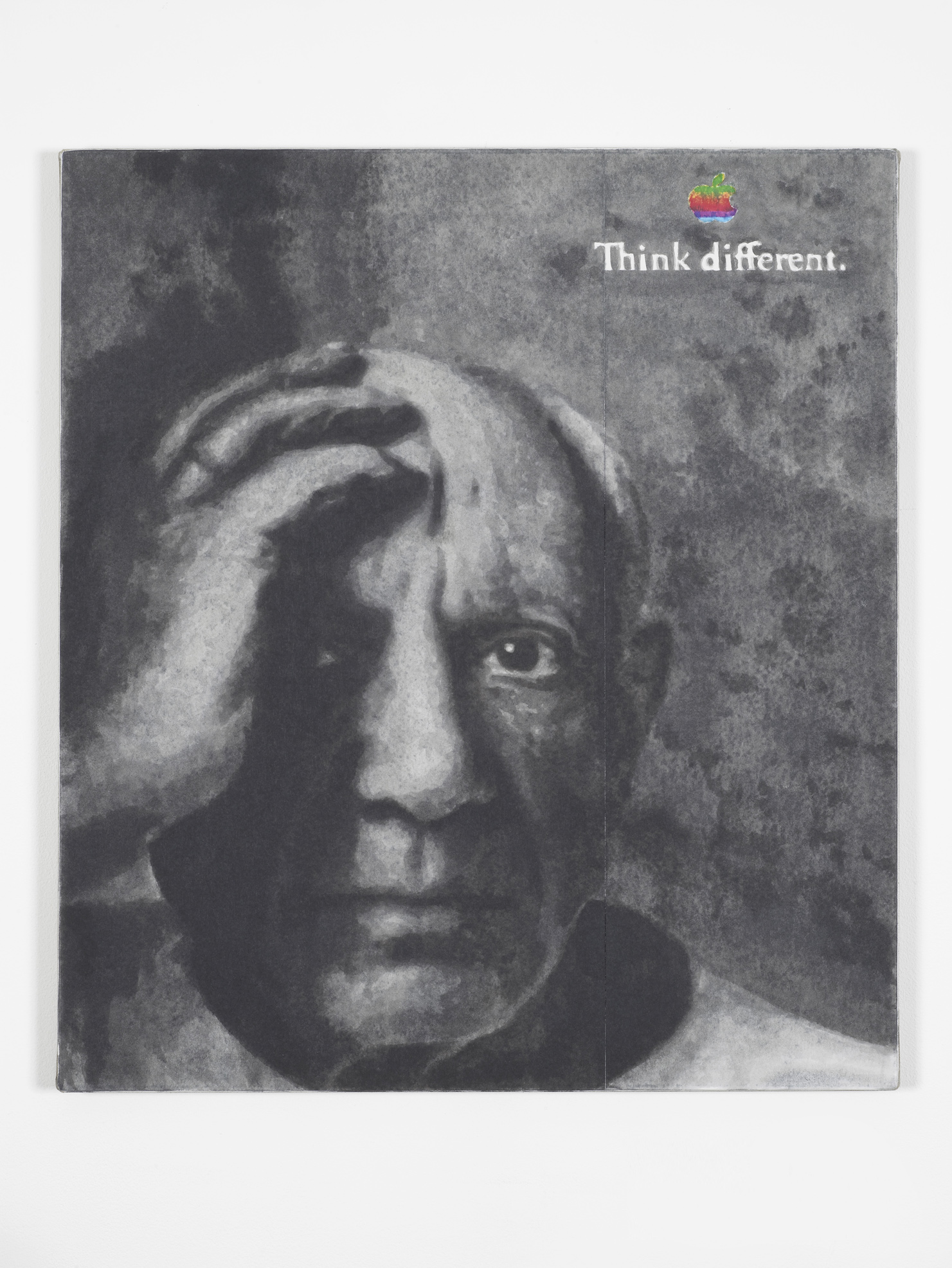 Think Different (1990's)  2014  Hand-painted inkjet inks on fibre paper and linen  80 x 90 cm / 35.4 x 31.4 in