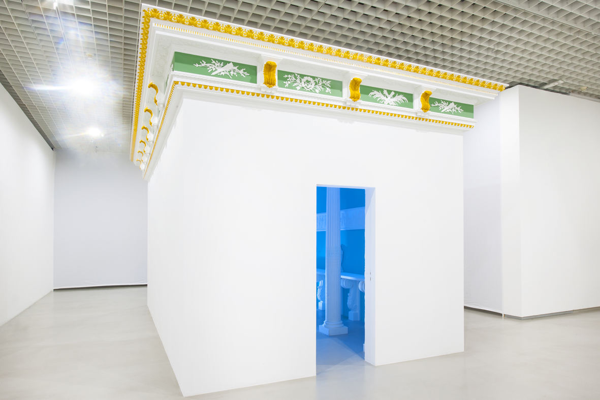 Temple of Convenience  2011  Wood and plasterboard structure, plastic ornaments  350 x 600 x 350 cm / 137.7 x 236.2 x 137.7 in