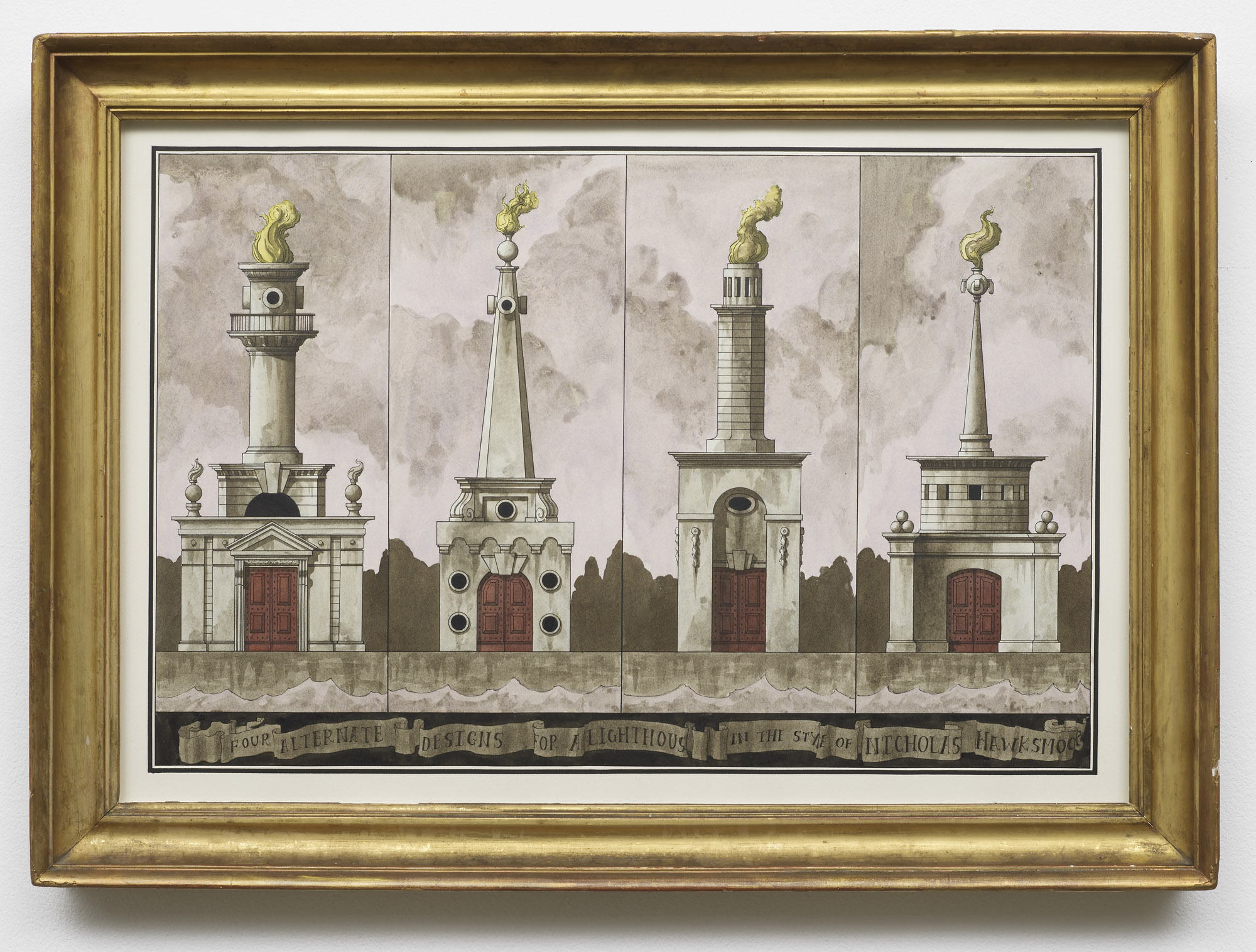 Four Alternate Designs for a Lighthouse in the Style of Nicholas Hawksmoor  2014  Ink and watercolour on paper in artist's frame  55 x 76.5 cm / 21.6 x 30.1 in