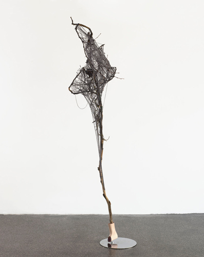 www  2010  Metal, branch, plastic branch, plastic foot, synthetic resin, wool, glue  252 x 98 x 85 cm / 99 x 38.5 x 33.4 in