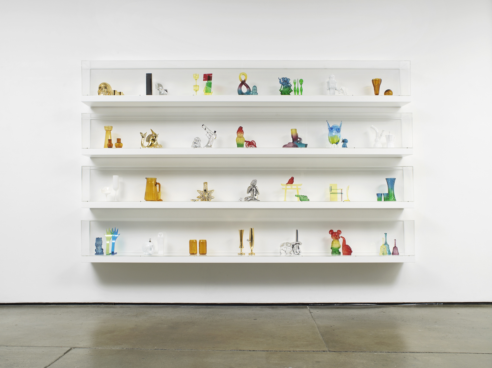 Untitled: Shelves No. 1 (series 5)  2012 Mixed media, shelves, perspex casing 160 x 280  x 24 cm / 63 x 110.2 x 9.4 in
