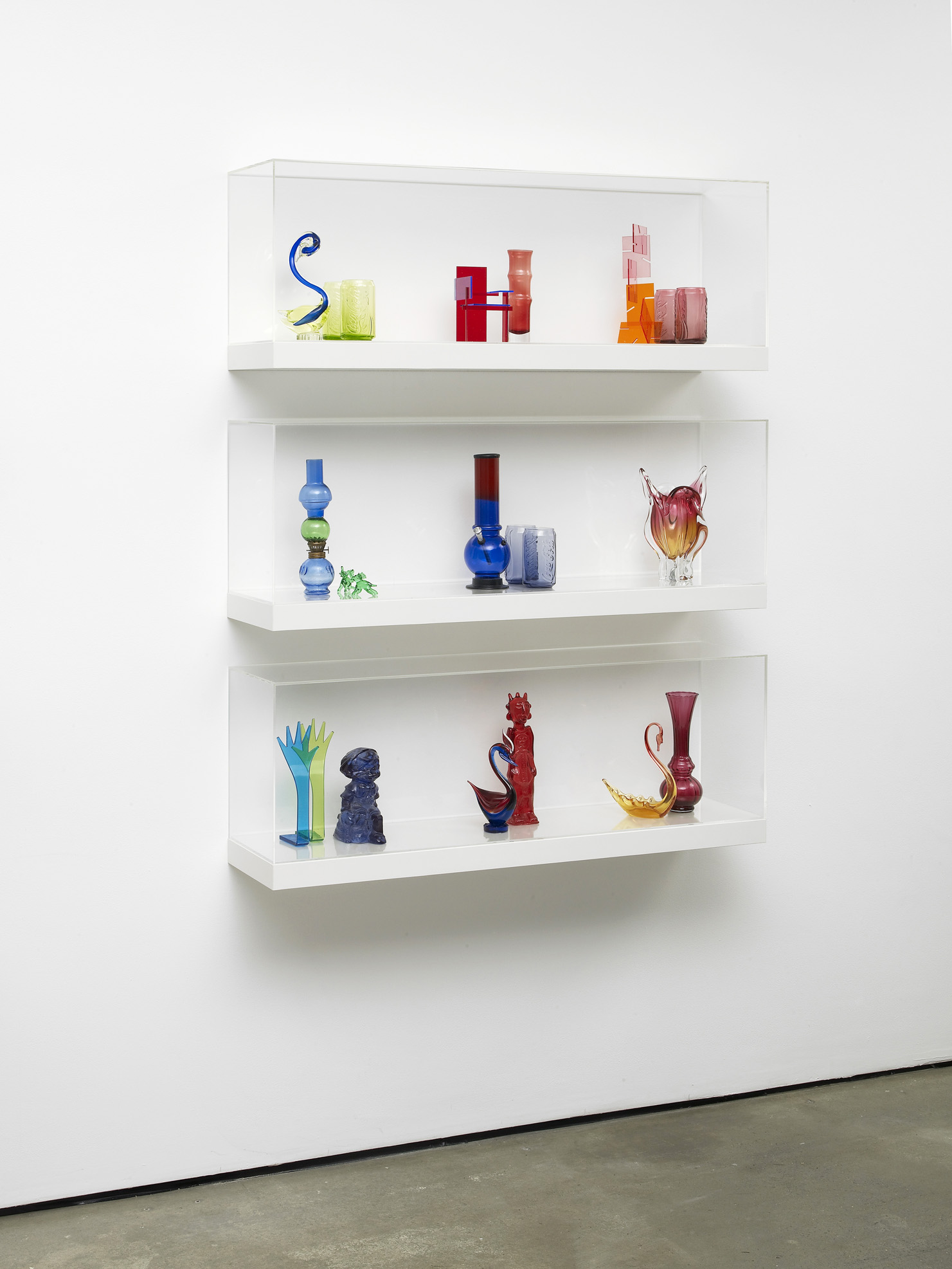 Untitled: Shelves No. 9 2011 Various glass and plastic components, shelving units, and perspex cases 140 x 110 x 30 cm