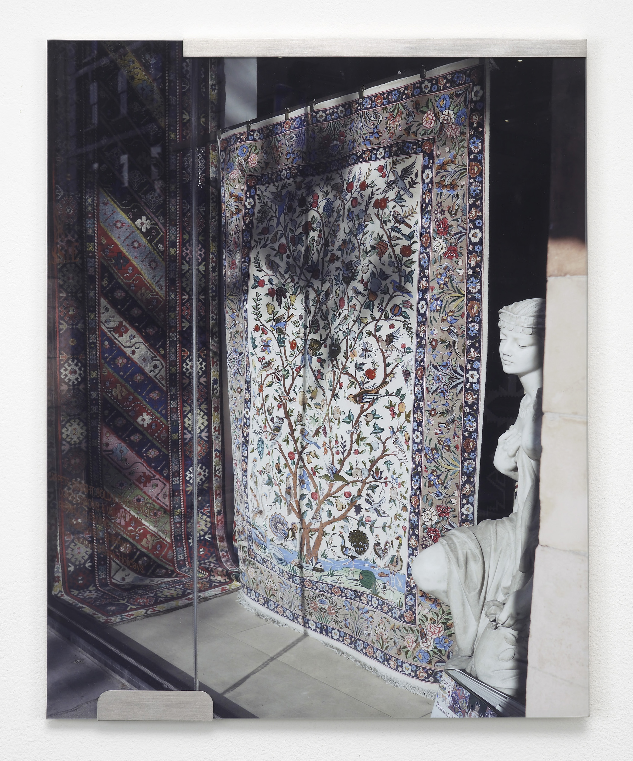 Nicole Wermers Carpets and Glass #2 2012 C-print, stainless steel clips, clip frame 50 x 40 cm