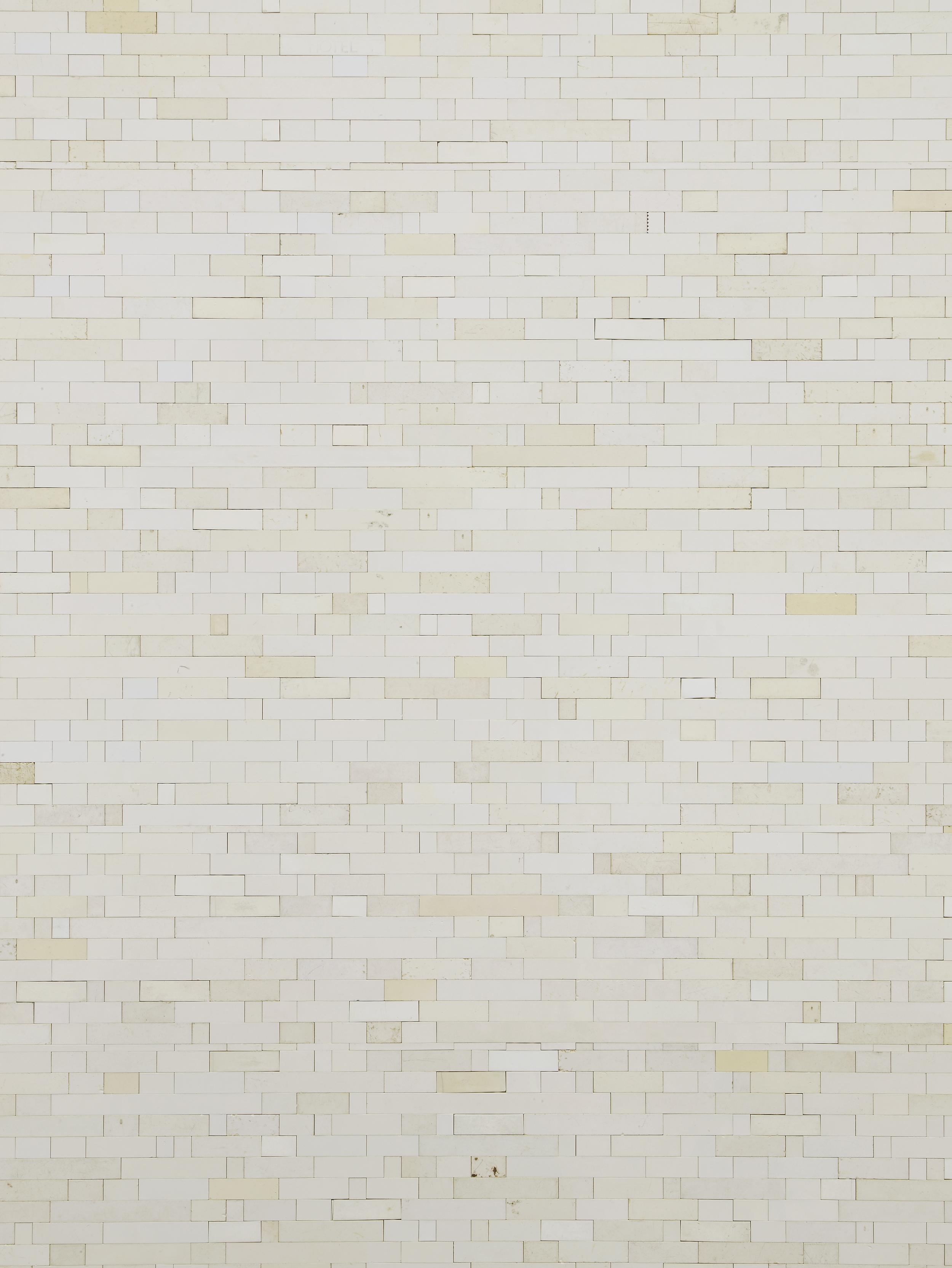 Michael Wilkinson White Wall 5 (Detail) 2013 White Lego column 185 x 33 x 50 cm / 72.8 x 11.8 x 19.6 in