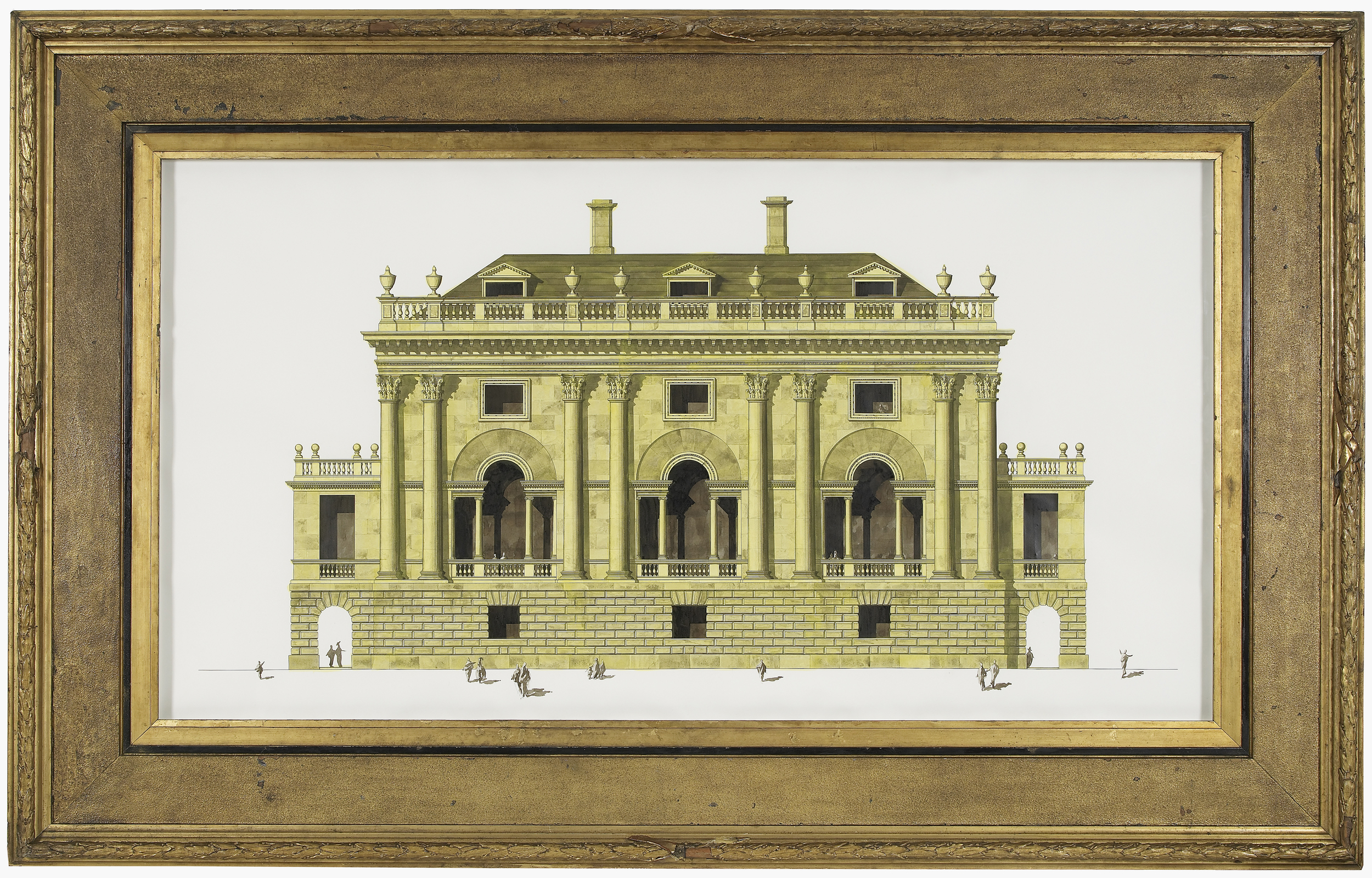 Palladian House refreshed in Lemon Yellow 2012 Ink and watercolour on paper in artist's frame 168 x 266 cm / 66.1 x 104.7 in