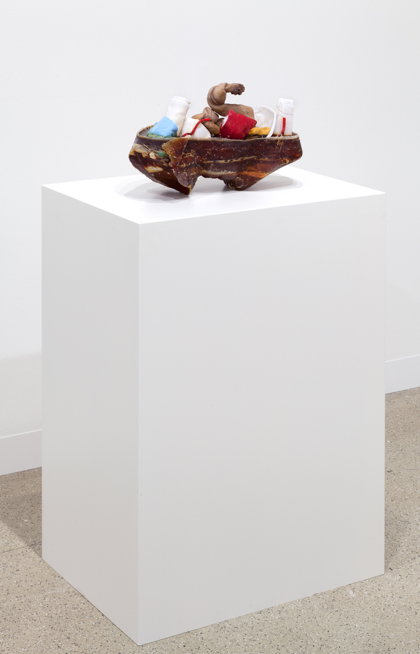 Still Life 2014 Latex, fabric, wax, yarn and thread Work: 26 x 42 x 21 cm / 10.2 x 16.5 x 8.2 in Plinth: 88 x 63 x 46 cm / 34.6 x 24.8 x 18.1 in