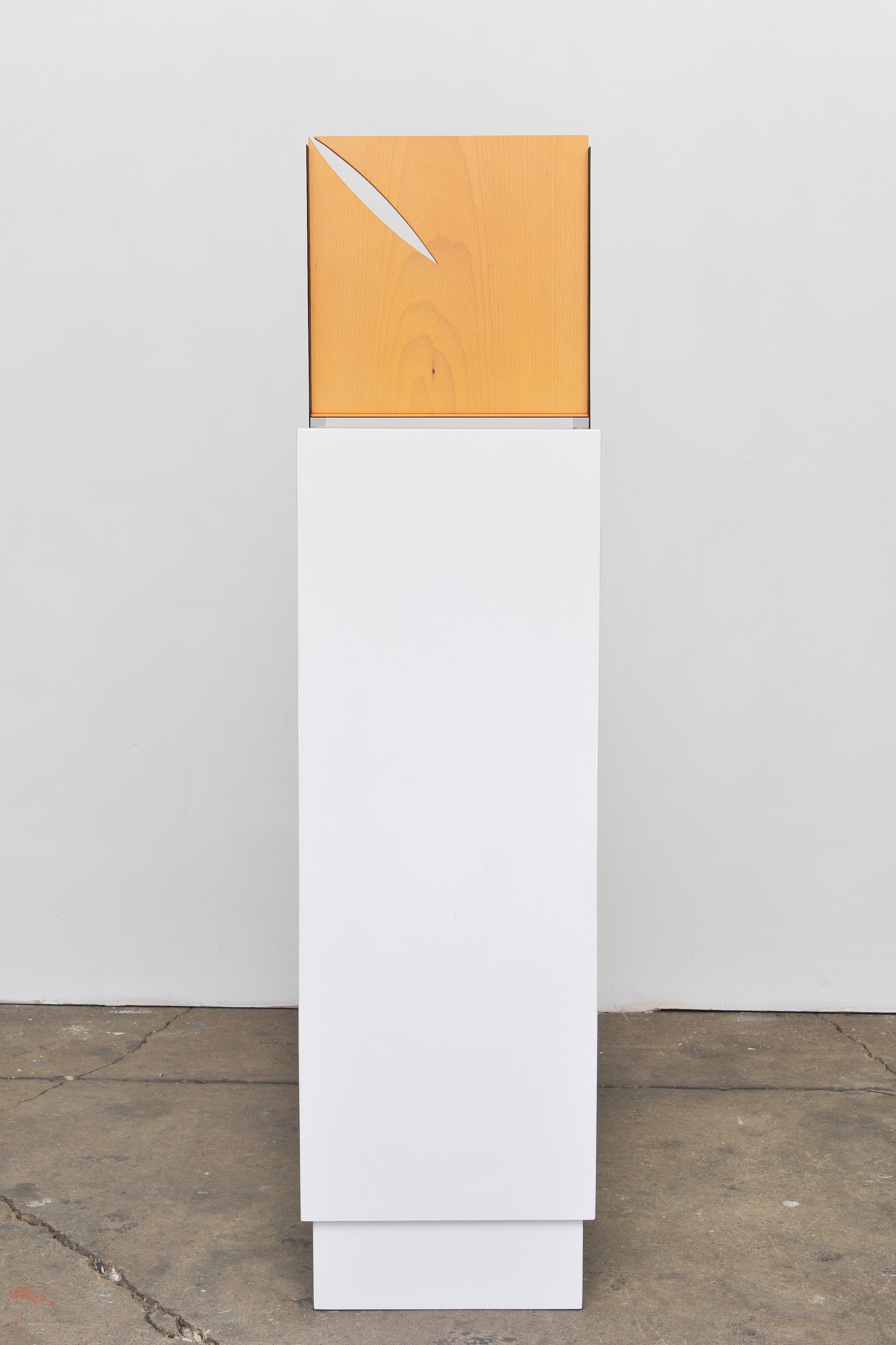 Standing Plaque (Four sides) 2014 Euro-beech hardwood, steel, copper rivets, enamel, wax 29.2 x 28.4 x 27.9 cm / 11.5 x 11.2 x 11 in Plinth: 91.4 x 30.4 x 30.4 cm / 36 x 12 x 12 in
