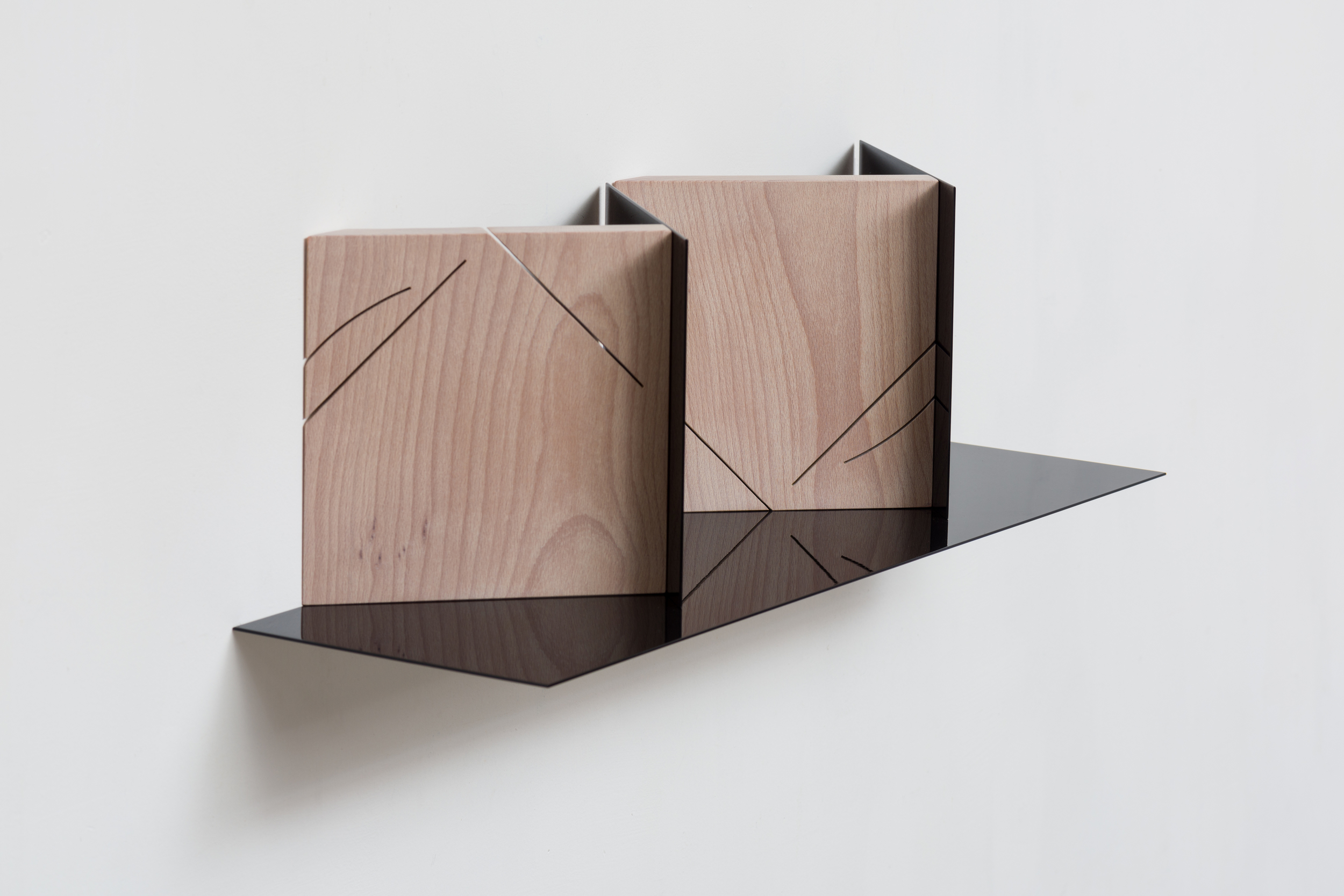 Corners (Mirrored) 2014 Euro-beech hardwood, steel, copper rivets, enamel, wax 17.7 x 60.9 x 17.7 cm / 7 x 24 x 7 in